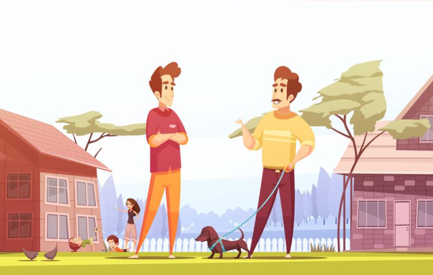 neighbors cartoon with dog